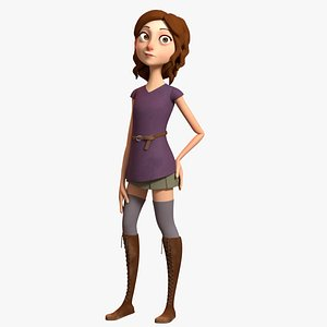 3D stylized female character rig model