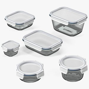 3D Glass Clip Lock Food Storage Container Set model