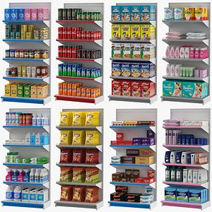 3D 8 Supermarket Shelves Collection