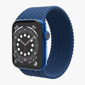 3D Apple Watch Series 6 braided solo loop blue model