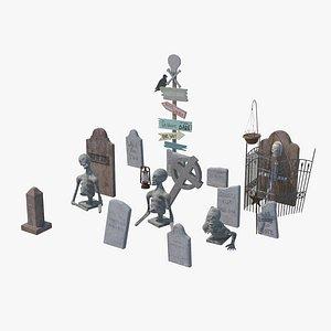 Halloween Tombstones 3D model