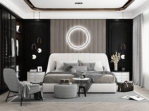 3D Modern Style Bedroom - 615 model