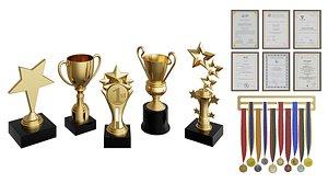 3D model Awards Set BLENDER 3D Model Cycles