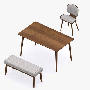 3D table chair bench