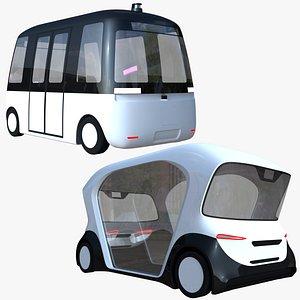 Autonomous shuttle buses 3D model