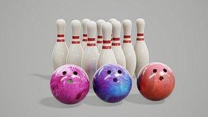 3D bowling pins balls