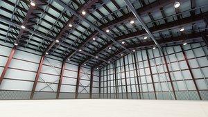 3D airplane hangar interior