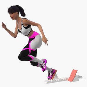 Woman Athlete with Starting Block Rigged 3D model