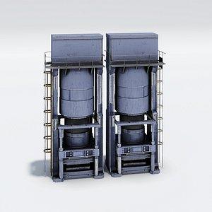 3D Industrial Hydraulic Press Machine model