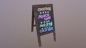 Beach Bar Menu Sign model