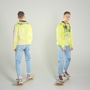 3D Guy on skateboard 291 model