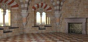 room castle romanesque 3D model