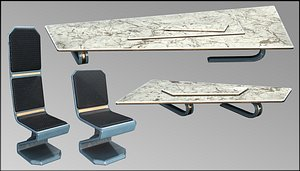 3D Sci-Fi Hall Furniture Set Low-Poly