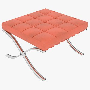 3D Knoll Orange Leather Barcelona Stool Ottoman model