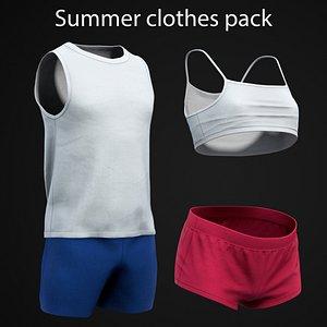 Summer clothes pack 3D model