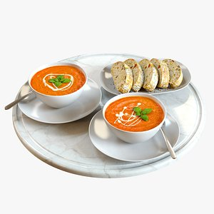 Food Set 03  Tomato Soup and Bread 3D model