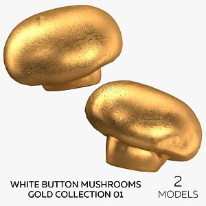 White Button Mushrooms Gold Collection 01 - 2 models 3D model