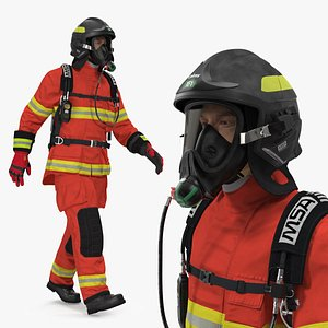 firefighter fully equipped rigged man 3D model