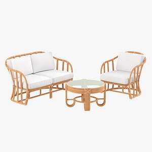 Vintage Rattan Furniture with Cushions Set 3D model