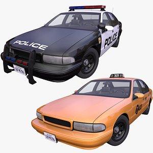 pack generic american taxi 3D model