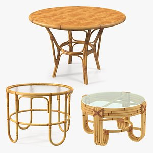 3D Round Bamboo Tables Collection
