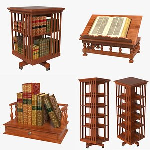 3D Antique Bookholders and Bookcases Set model
