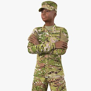 African American Female Soldier Camouflage 3D model