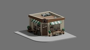3D model isometric cafe coffee house