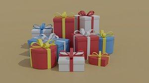 3D model cartoon gift box