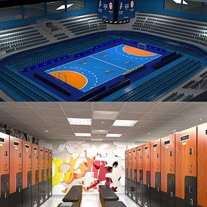 Handball Arena and Locker Room 3D model