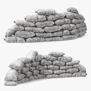 3D Semicircle Polypropylene Sandbag Barricade Dirty model