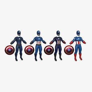 3D 04 Captain America Outfits - Character Design Fashion