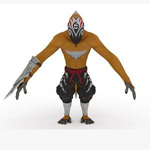 3D Ninja Rigged and Animated model