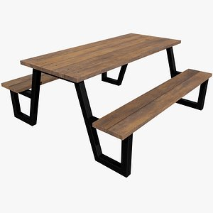 3D Picnic Table v7 with Pbr 4K 8K model