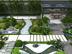 Courtyard to home garden villa back garden landscape rockery lotus leaf plants 3D model