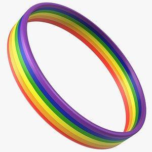 Rainbow Rubber Bracelet 3D model