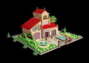 Cartoon Building Cute Building Low Poly Model Building Q Version Building Villa European Building 3D model