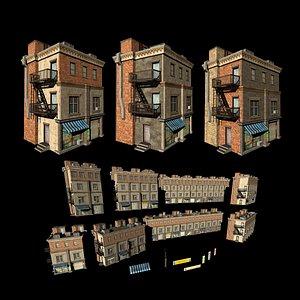 Customizable city building Low-poly 3D model Type2 3D model