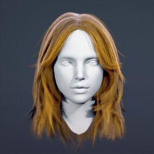 3D model real time female long hair