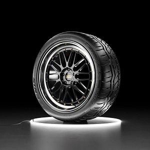 3D Car wheel Falken Azenis RT 615 K tire with BBS LM rim model