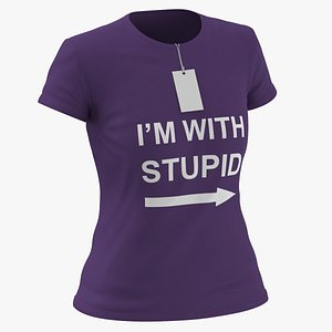 Female Crew Neck Worn With Tag Purple Im With Stupid 01 3D