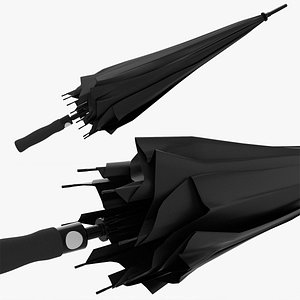 3D Large automatic umbrella black folded