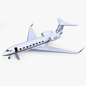3D Gulfstream G650 Business Jet Black Skin