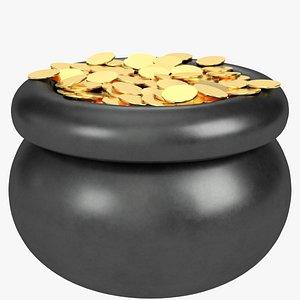 pot gold coins 3D model