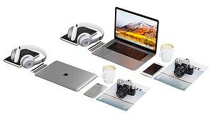 3D Workplace Silver Macbook BLENDER Cycles model