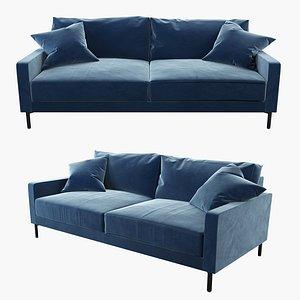 modern sofa blue velvet 3D