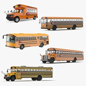 3D Rigged School Buses Collection 3 model