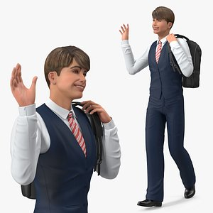 Teenage Boy School Uniform Walking Pose 3D model