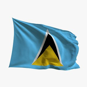 3D Realistic Animated Flag - Microtexture Rigged - Put your own texture - Def Saint Lucia