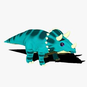 Triceratops Cartoon Dinosaur 3D